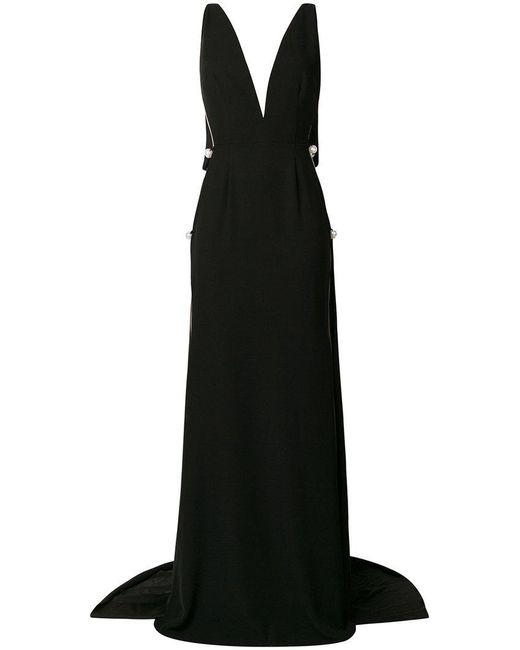 Cristina Savulescu - Black V-neck Pearl Gown - Lyst