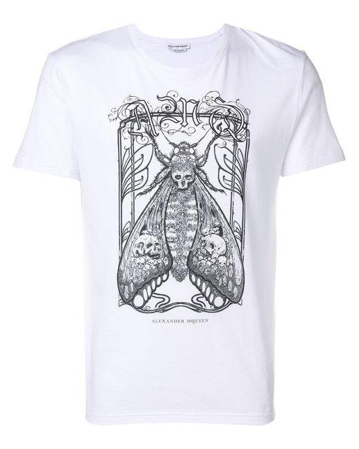 Alexander McQueen - White Moth Graphic T-shirt for Men - Lyst