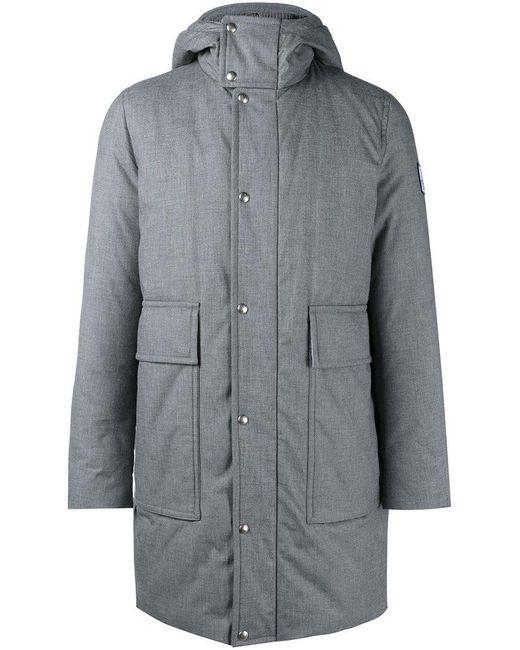 Moncler Gamme Bleu | Gray Padded Hooded Coat for Men | Lyst