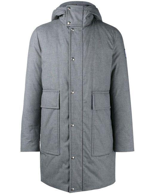 Moncler - Gray Padded Hooded Coat for Men - Lyst