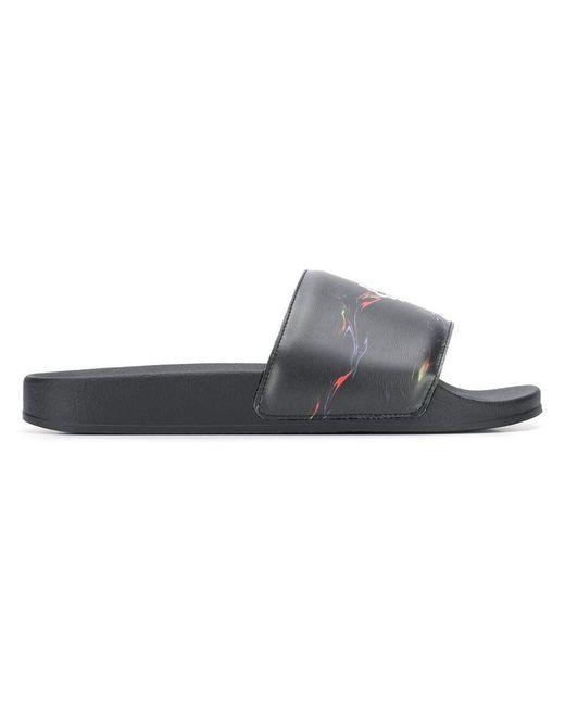 ef5aaa7e89b3 Marcelo Burlon - Black Branded Sliders for Men - Lyst ...