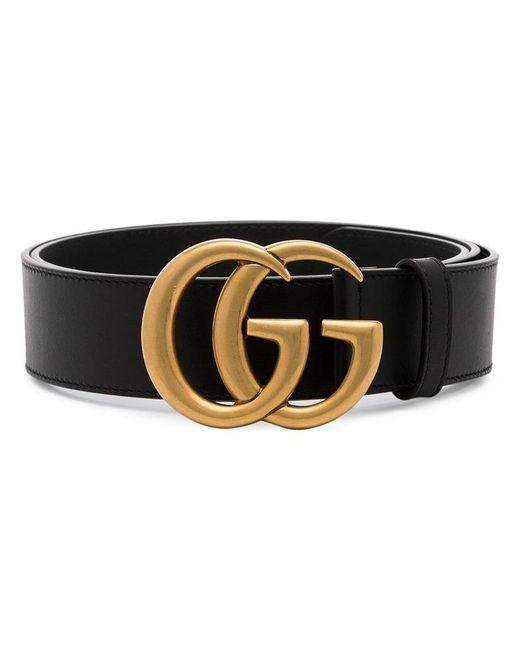 Gucci - Black Marmont Leather GG Logo Belt for Men - Lyst