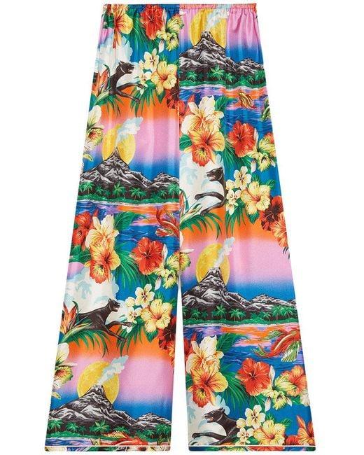 Gucci - Multicolor Hawaiian Print Silk Pajama Pants - Lyst