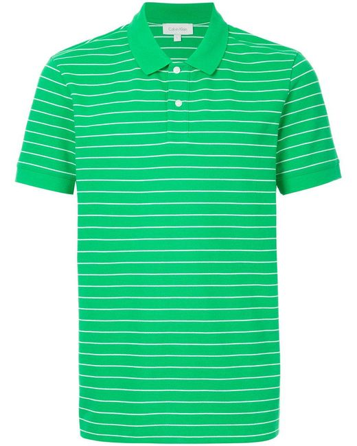 Calvin Klein - Green Striped Polo Shirt for Men - Lyst