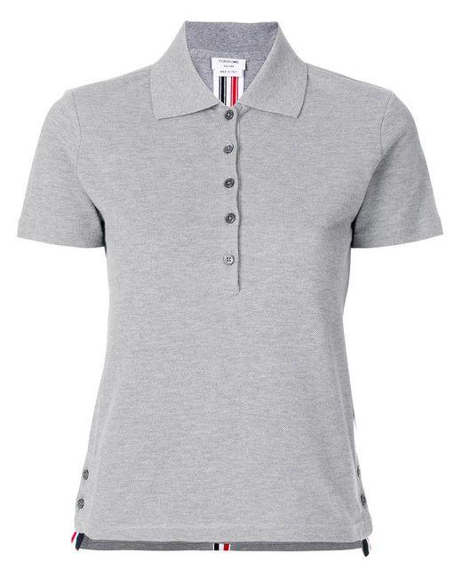 Thom Browne - Gray Side Slit Polo Shirt - Lyst