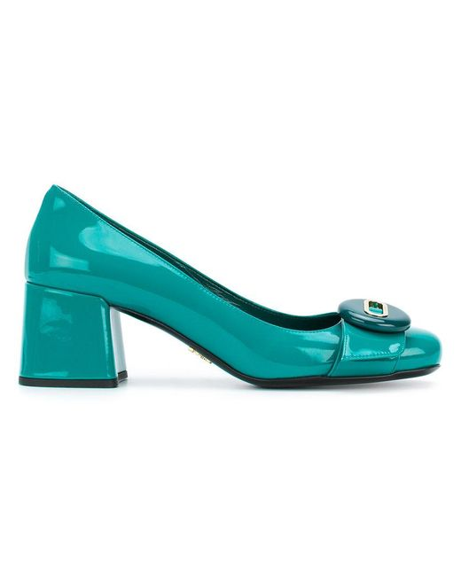 bdf7a9caf92 Lyst - Prada Button Detail Court Shoes in Green