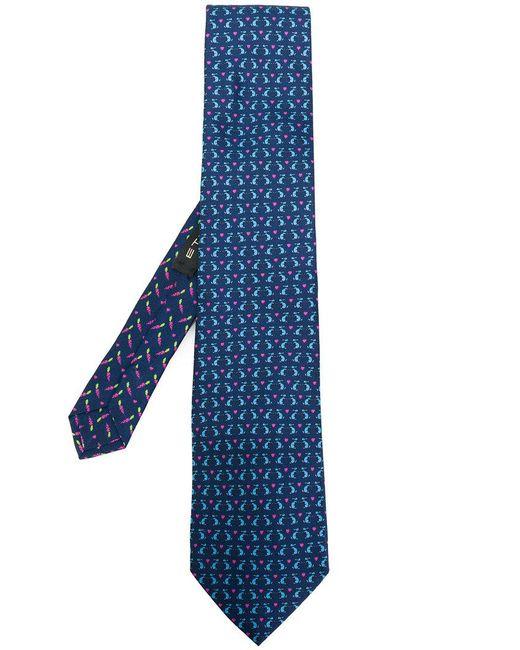 Etro | Blue Rabbit Print Tie for Men | Lyst