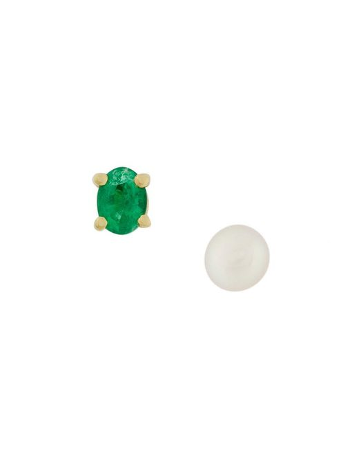 Wouters & Hendrix - Metallic Emerald & Pearl Earrings - Lyst