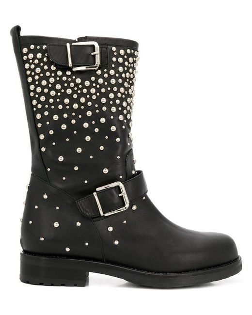 Albano - Black Pearl Embellished Boots - Lyst