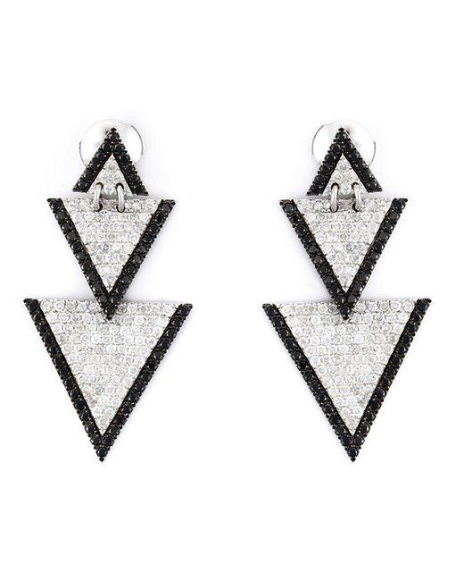 Elise Dray - White Drop Triangle Diamond Earrings - Lyst