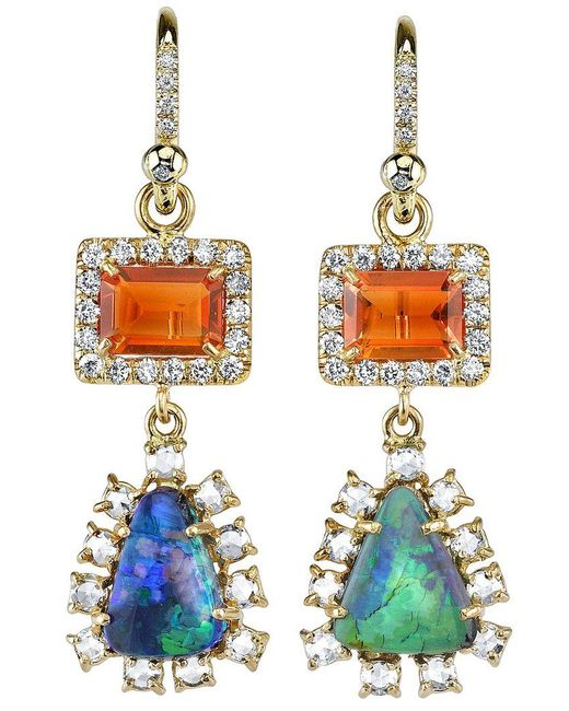 Irene Neuwirth - Green Diamond Tear Drop Earrings - Lyst