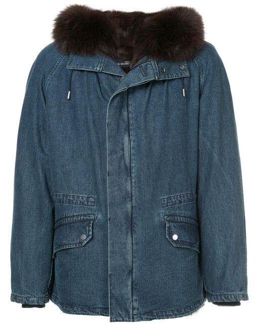 Yves Salomon - Blue Fur Hooded Denim Coat for Men - Lyst