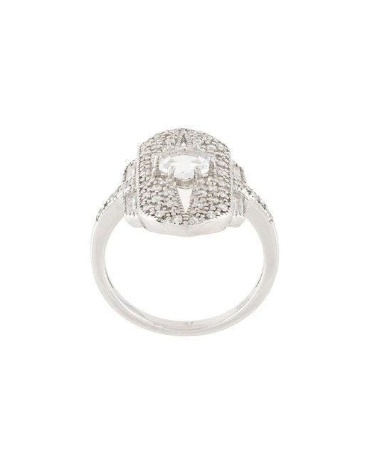 V Jewellery | Metallic Shield Ring | Lyst