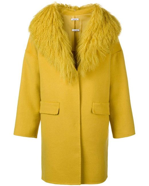 h o P a s Yellow Fur Coat Lyst Collar r qqTZUwOI