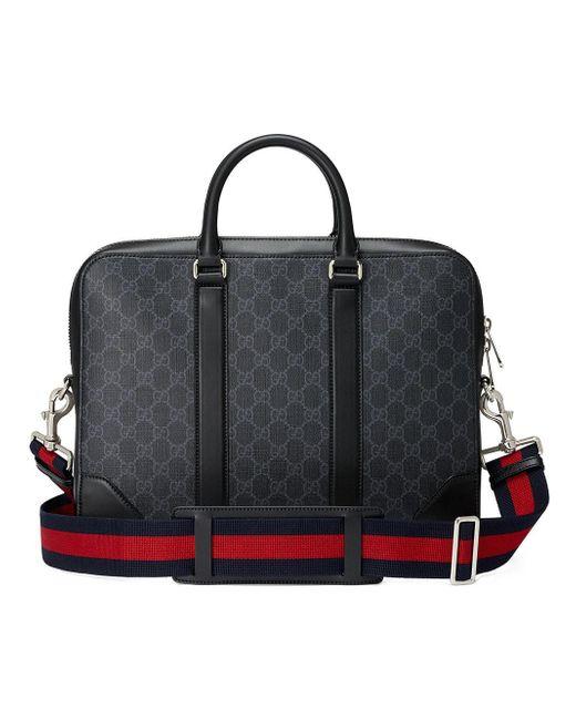 dc61a2b1efa Gucci GG Supreme Briefcase in Black for Men - Save 15% - Lyst