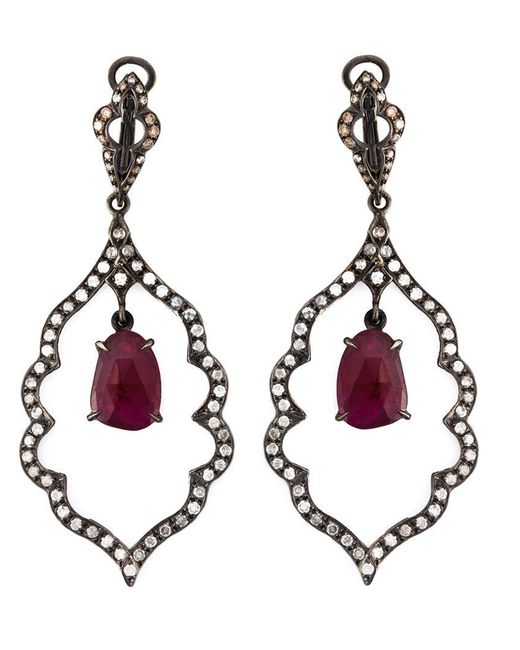 Loree Rodkin | Black Diamond And Ruby Drop Earrings | Lyst