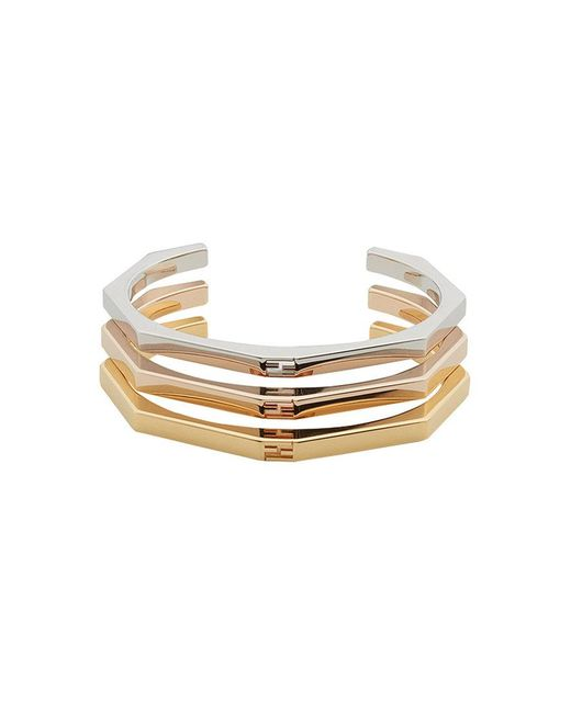 Fendi - Metallic Stacked Baguette Bracelets - Lyst