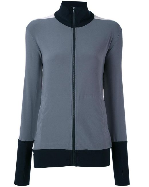 Norma Kamali - Gray Tri-colour Zipped Jacket - Lyst