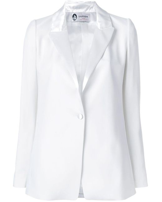 Lanvin White Satin Lapel Jacket