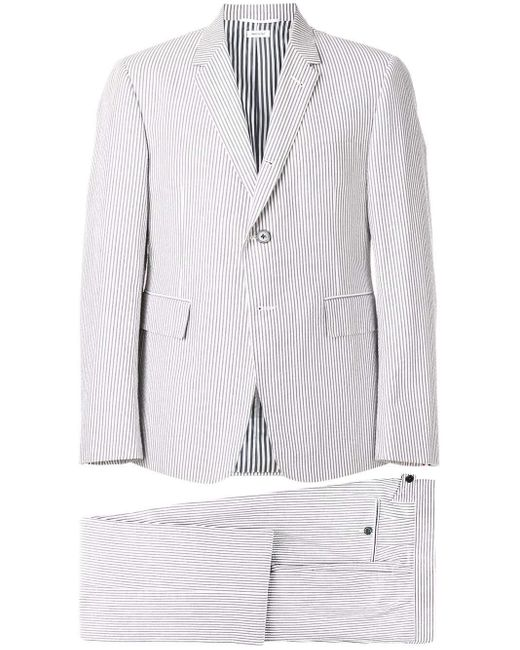 Thom Browne Gray Seersucker Suit With Tie for men