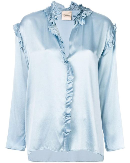 Nude - Blue Metallic Frill-trim Blouse - Lyst