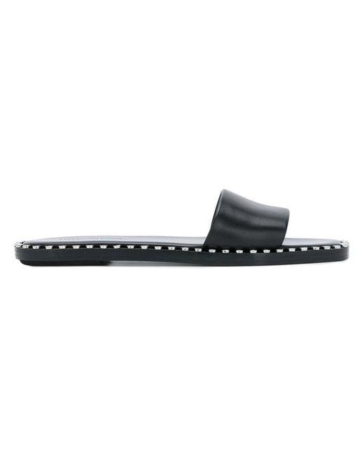 Alexander Wang - Black Studded Sliders - Lyst