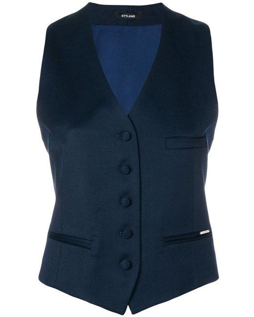 Styland - Blue Button Waistcoat - Lyst