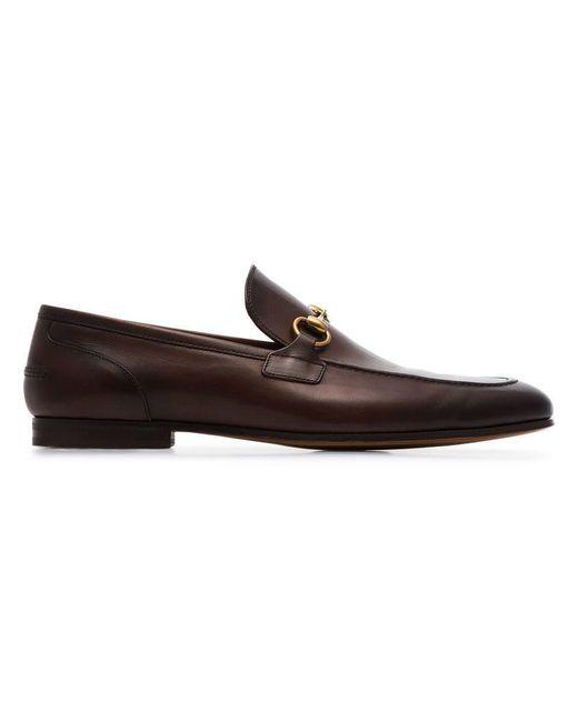 Gucci - Brown Jordan Buckle Embellished Leather Loafers for Men - Lyst