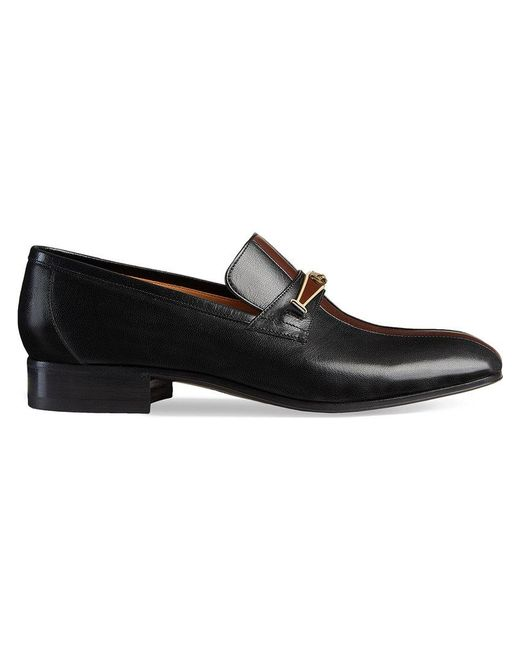 Gucci - Black Leather Loafer With Stripe for Men - Lyst
