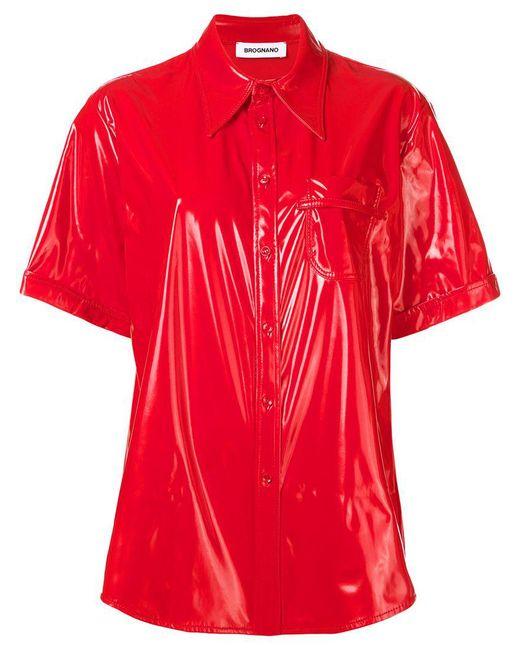 BROGNANO - Red Vinyl Short Sleeved Shirt - Lyst