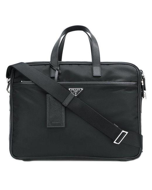Prada - Black Zipped Briefcase for Men - Lyst