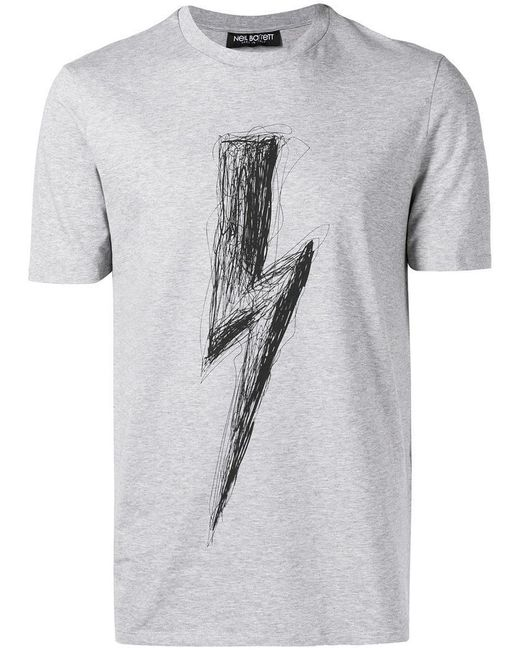 Neil Barrett - Gray T-Shirt mit Blitzmotiv for Men - Lyst