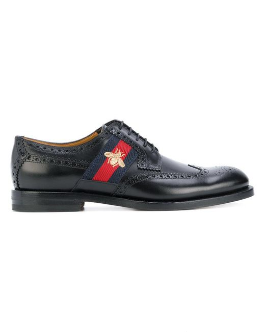 Gucci | Multicolor Bee Web-trimmed Brogues for Men | Lyst
