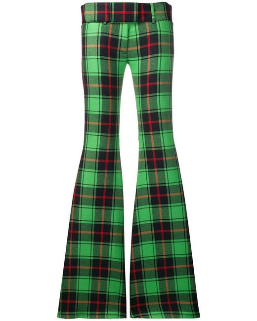Marco De Vincenzo - Green Checked Flared Trousers - Lyst