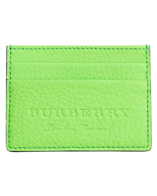 Burberry - Green Logo Embossed Card Case - Lyst