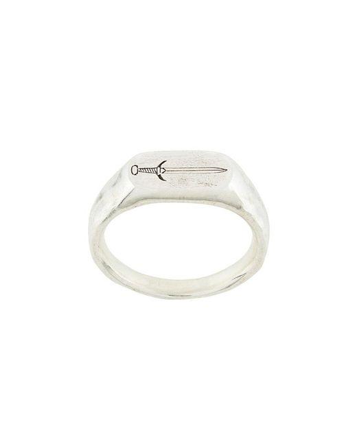 Henson - Metallic Engraved Dagger Signet Ring for Men - Lyst