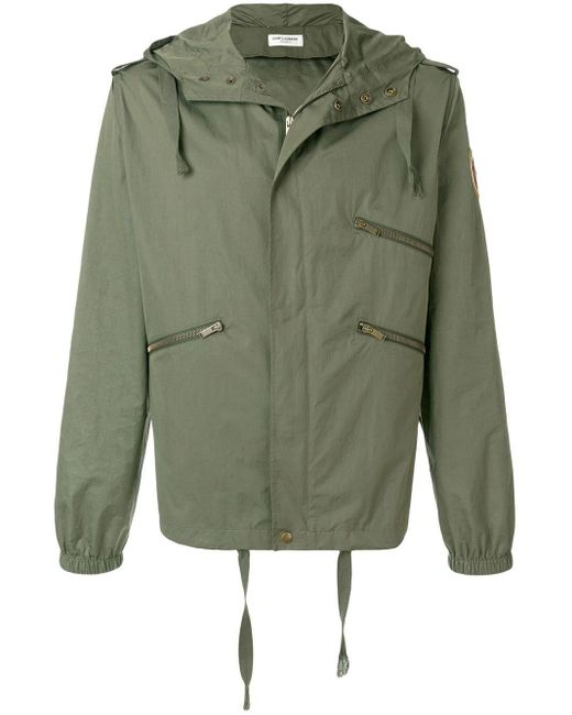Saint Laurent Green Zipped Parka Jacket for men