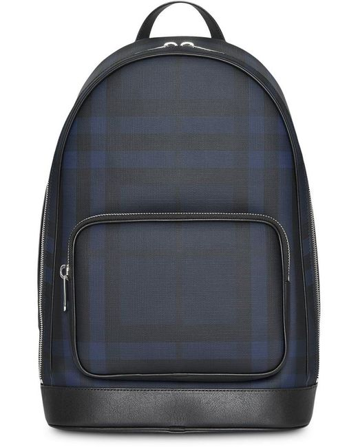 Burberry - Blue London Check And Leather Backpack for Men - Lyst ... 0c79c700cc