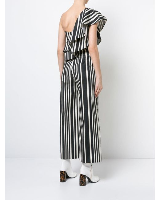 877be06a58ed Lyst - Alice + Olivia Striped One Shoulder Jumpsuit in Black - Save 77%