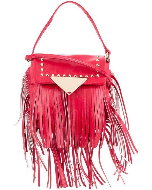 Sara Battaglia - Red Fringed Studded Crossbody Bag - Lyst