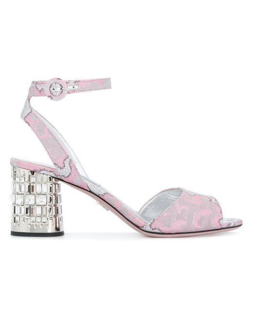 Prada - Pink Patterned Embellished Block Heel Sandals - Lyst