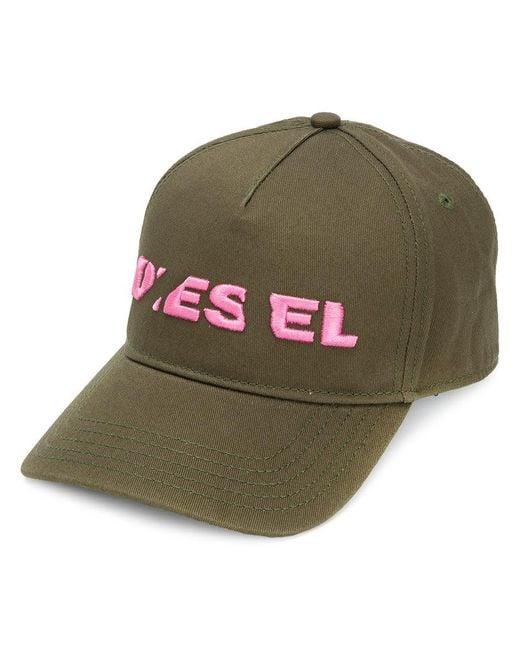 DIESEL - Green Embroidered Logo Cap for Men - Lyst