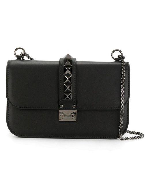 Valentino - Black Glam Lock Leather Shoulder Bag - Lyst