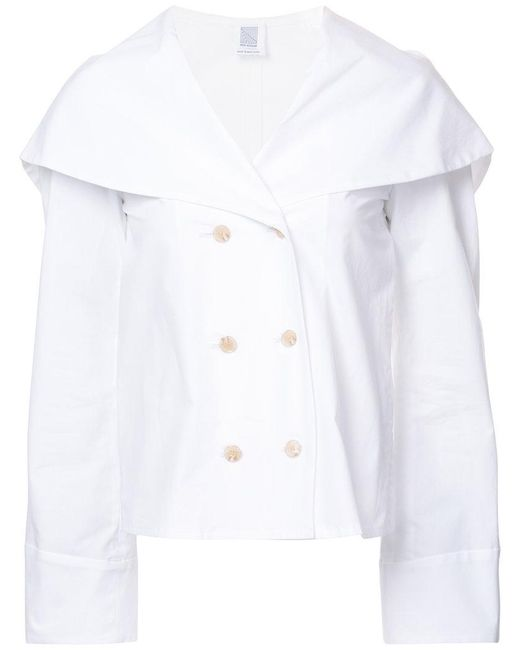 Rosie Assoulin | White Tailored Cape Jacket | Lyst