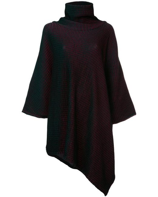 Issey Miyake | Black Knitted Roll Neck Dress | Lyst