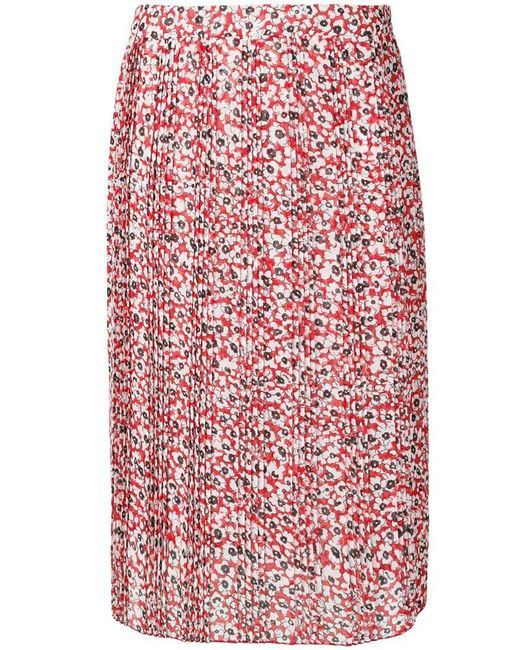 Dondup - Red Floral Print Pleated Skirt - Lyst