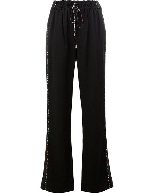 Peter Pilotto - Black Wide Leg Drawstring Trousers - Lyst