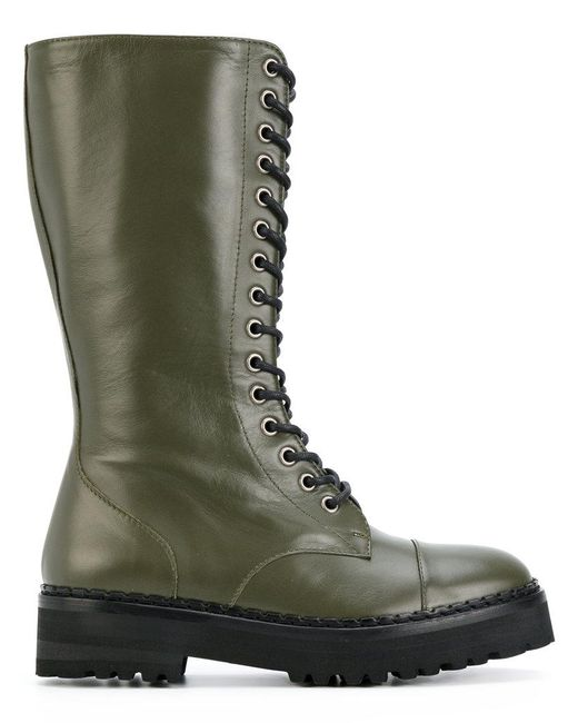 Moschino | Green Lace-up Boots | Lyst