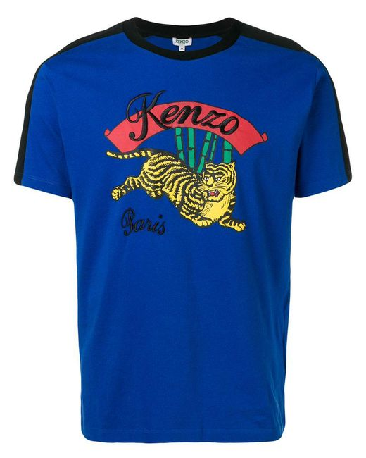KENZO - Blue Tiger Patch T-shirt for Men - Lyst