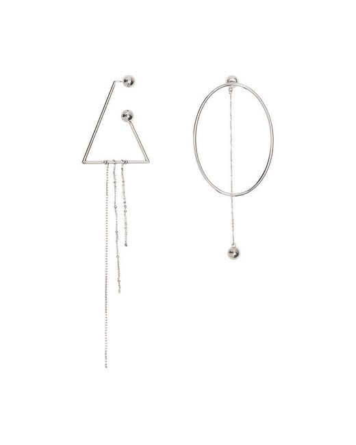 Burberry - Metallic Triangle And Oval Palladium-plated Drop Earrings - Lyst